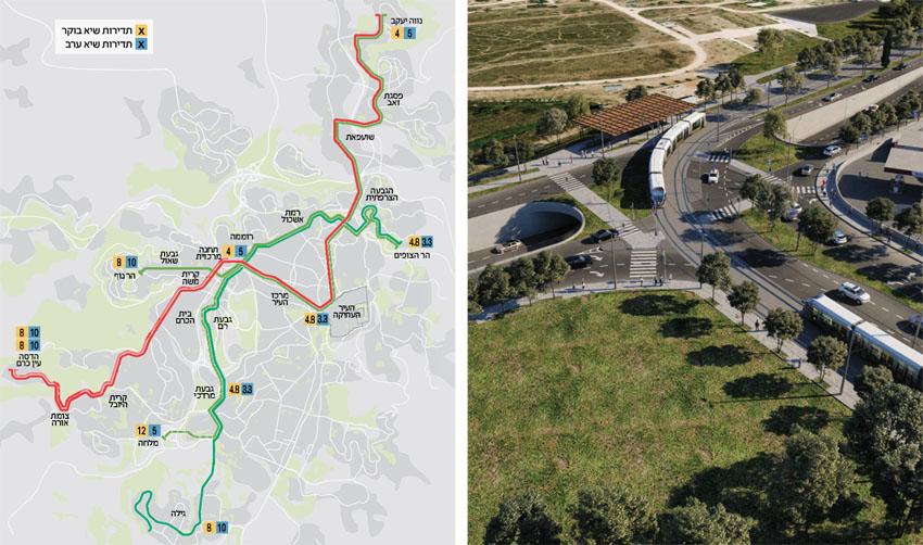 הדמיית הקו הירוק של הרכבת בצומת פת, מפת הקו הירוק (צילומים: באדיבות צוות תוכנית אב לתחבורה ירושלים)
