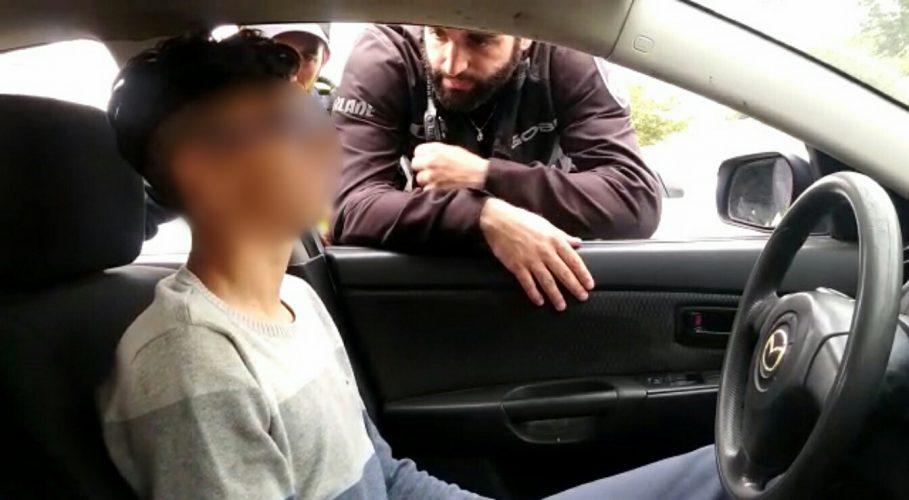 הנער בן ה-14 שנתפס נוהג ברכב (צילום: דוברות המשטרה)
