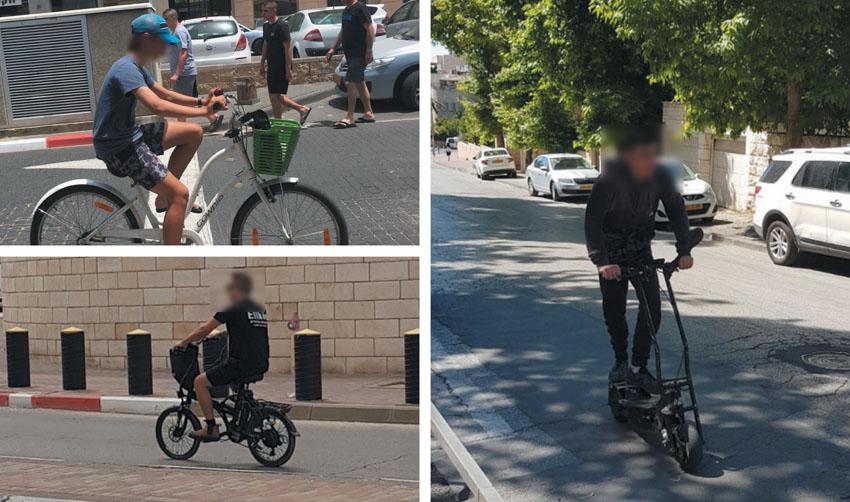 רוכבי אופניים חשמליים ללא קסדה (צילום: עמותת אור ירוק)