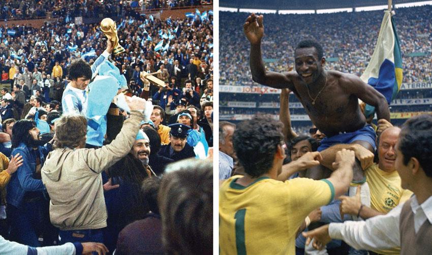 נבחרת ברזיל (מימין) חוגגת זכייה במונדיאל 1970, נבחרת ארגנטינה (משמאל) חוגגת זכייה במונדיאל 1978 (צילומים: Carlo Fumagalli / WCSCC AP, AP)