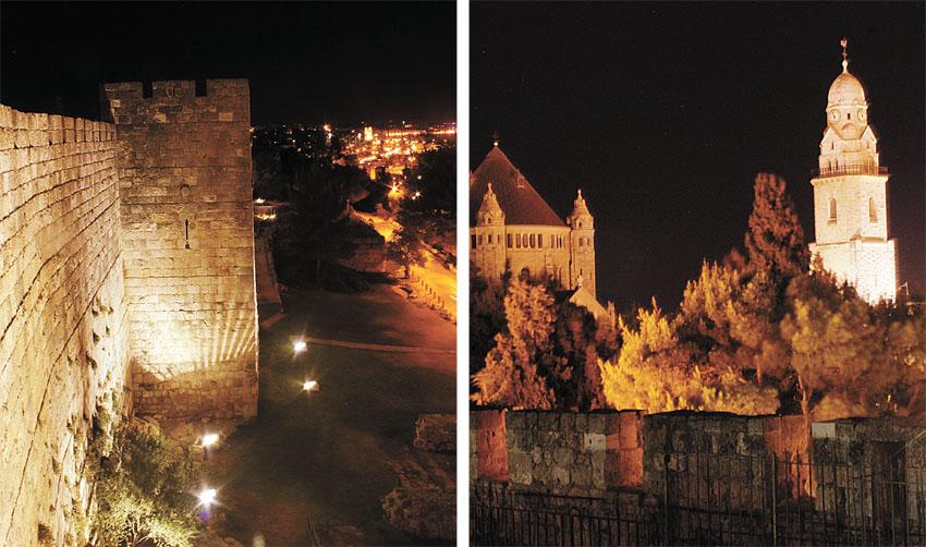"""טיילת החומות בערב (צילומים: יח""""צ)"""