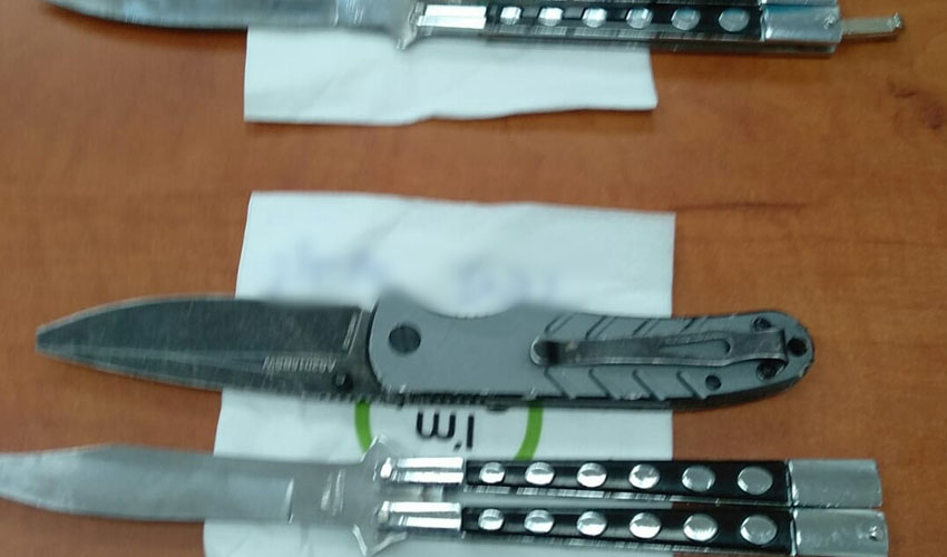 הסכינים שבהם השתמשו לפי החשד הנערים (צילום: דוברות המשטרה)