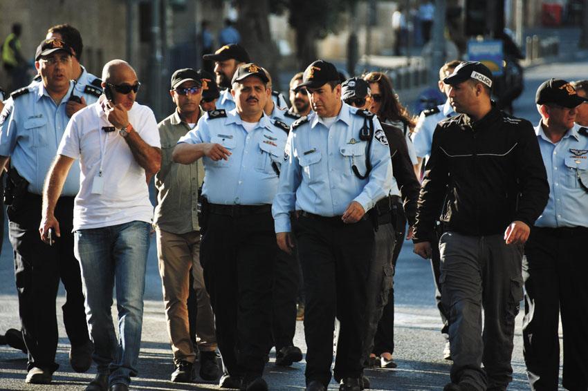 כוחות משטרה במצעד הגאווה בשנה שעברה (צילום: דוברות המשטרה)