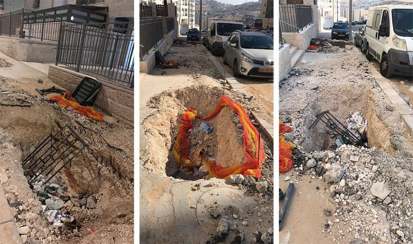 בורות ברחוב עמנואל זיסמן הר חומה (צילומים: דקלה דאנה)