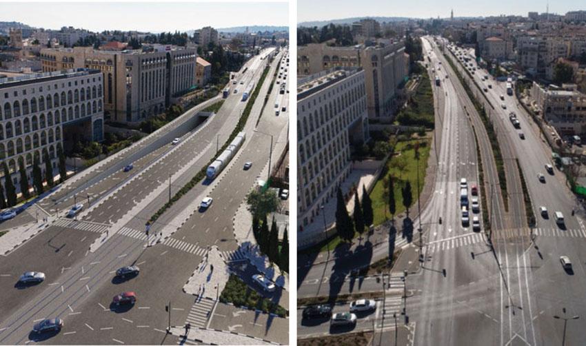 """(מימין) תצלום אווירי, הדמיה של הארכת מינהרת צה""""ל - מבט מצפון (צילום: תכנית אב לתחבורה, א.ג. מהנדסים)"""