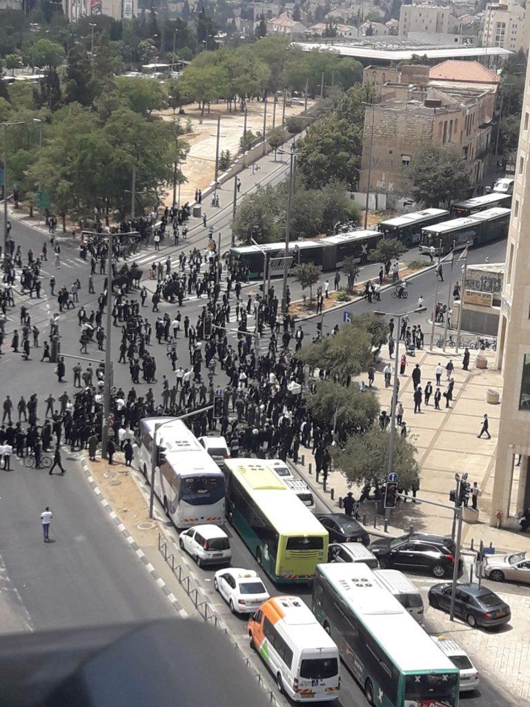 הפגנות החרדים נגד מצעד הגאווה (צילום: פרטי)