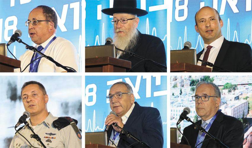 """(משמאל) ד""""ר יובל וייס, יעקב ליצמן, נפתלי בנט, פרופ' יונתן הלוי, פרופ' זאב רוטשטיין, האלוף איציק תורג'מן (צילום: ארנון בוסאני)"""