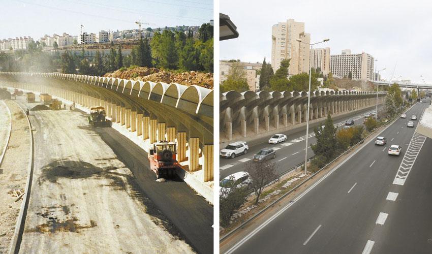 מחלף הרוזמרין בכביש בגין כיום, העבודות להקמת כביש בגין בשנת 1998 (צילום: אמיל סלמן, ראובן מילון)