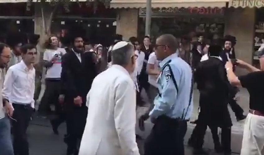 הפגנת החרדים ברחוב יפו, שבת (צילום: מרצ ירושלים)