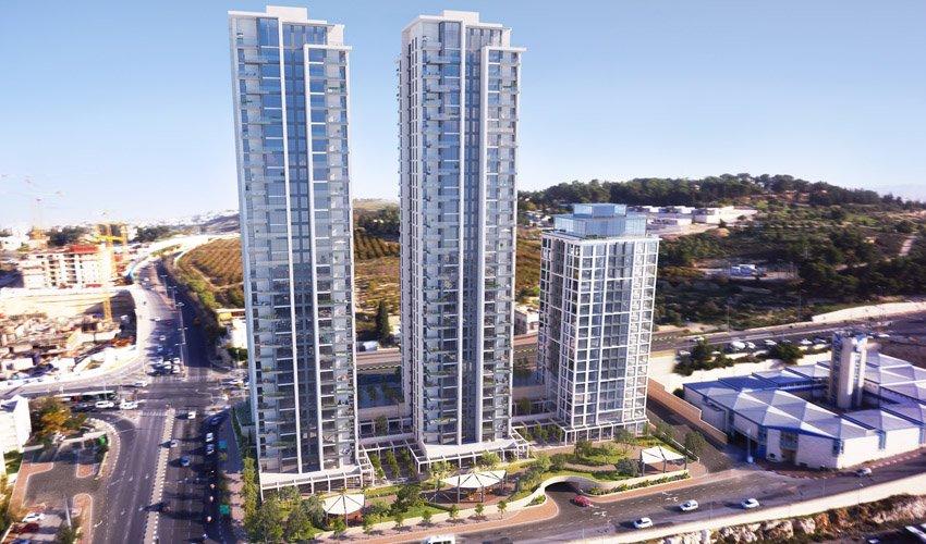 שני המגדלים המתוכננים לקום בדופן המערבית של רחוב דרך חברון (הדמיה: אדריכל אמציה אהרנסון אדריכלים)