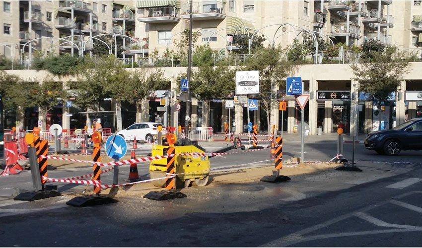 העבודות בצומת הרחובות אביזהר משה קול, השבוע