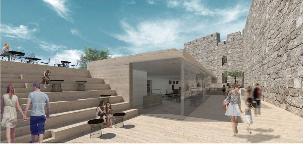 """רחבת הכניסה החדשה של מוזיאון מגדל דוד (הדמיה: קימל אשכולות בע""""מ)"""