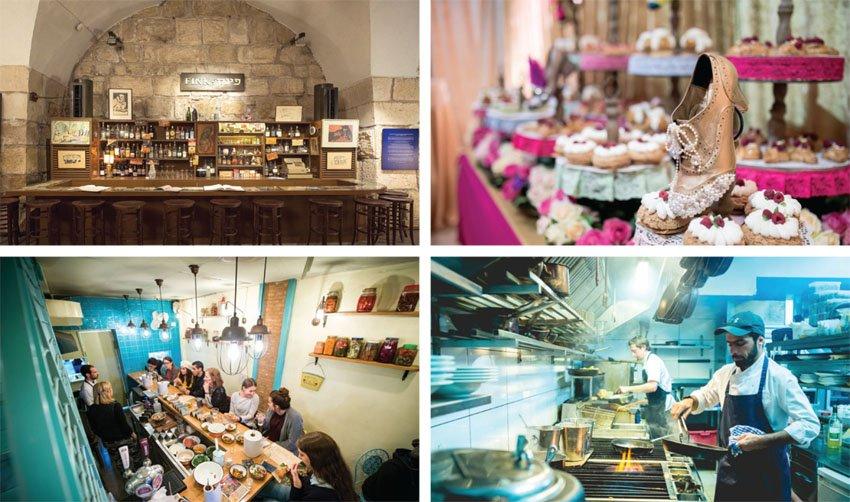 """(מימין) מסעדת """"אדום"""", מסעדת """"דוויני"""", """"קפה קדוש"""", מתוך השחזור של מסעדת """"פינק"""" (צילומים: תומר פולטין, עודד אנטמן)"""