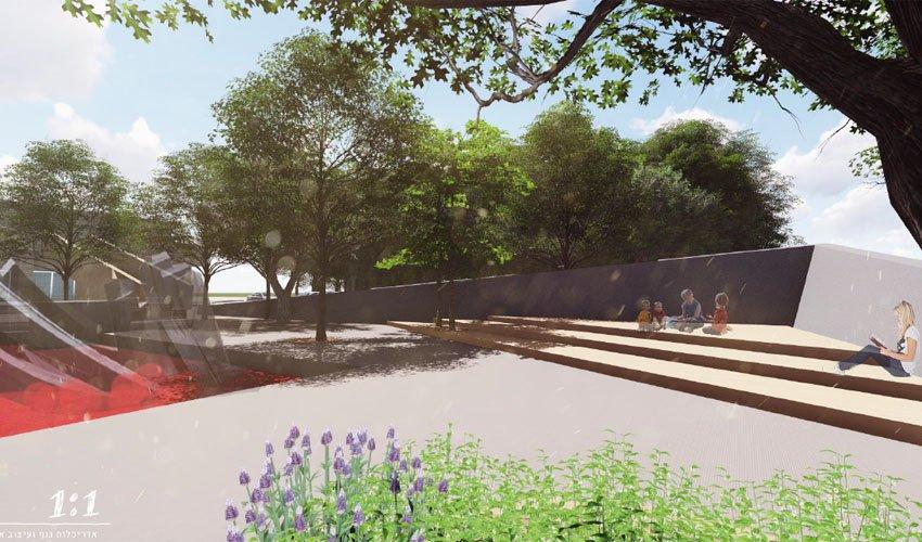 הדמיית כיכר דניה לאחר השדרוג (הדמיה: אדריכלות נוף ועיצוב אורבני)