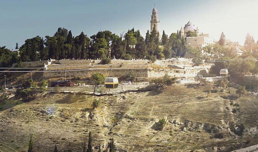 הדמיה של הרכבל לעיר העתיקה (הדמיה: הרשות לפיתוח ירושלים)
