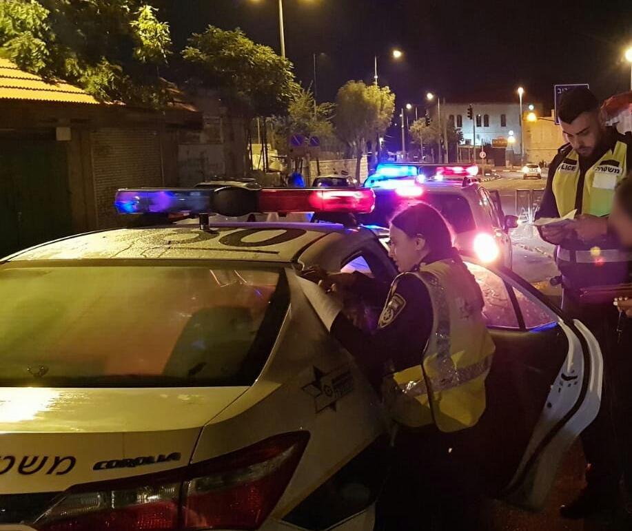 מבצע לתפיסת נהגים תחת השפעת אלכוהול בירושלים (צילום: דוברות המשטרה)