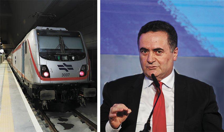 שר התחבורה ישראל כץ, הרכבת בתחנת האומה בירושלים (צילומים: מגד גוזני, שלומי כהן)