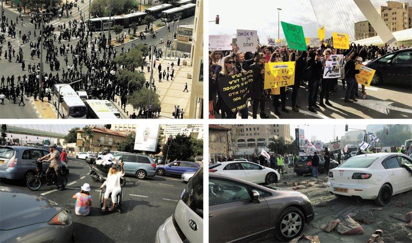 מחאת העובדות והעובדים הסוציאליים, הפגנת עובדי תעשיית המלט, מחאת הנכים, מחאת החרדים הקיצוניים (צילומים: דוברות המשטרה, פרטי, אוליבייה פיטוסי)