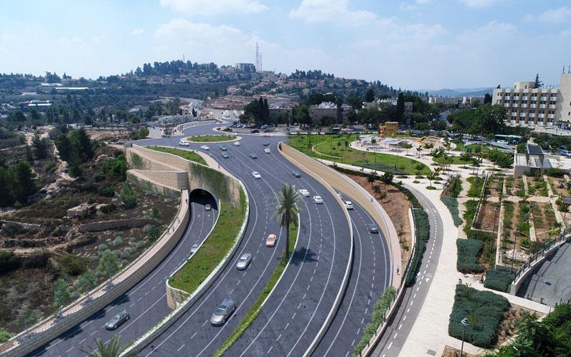 הדמיית ההפרדה המפלסית בצומת אורה (הדמיה: צוות תוכנית אב לתחבורה ירושלים)