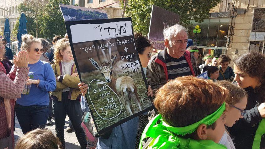המפגינים נגד תוכניות הבנייה בעמק מוצא, ביניהם דובל'ה גליקמן (צילום: הדס בן ששון)
