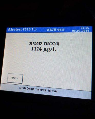 בדיקת אלכוהול לנהג בירושלים (צילום: דוברות המשטרה)