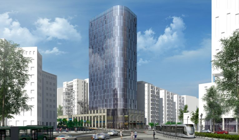 מגדל בן 18 קומות במתחם יפו-שרי ישראל (הדמיה: משרד יגאל לוי - אדריכלים)