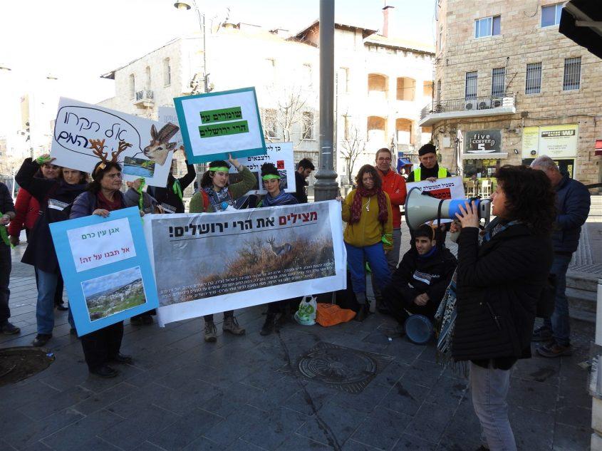 """הפגנת המתנגדים נגד התוכנית להקמת מכללות צה""""ל בעין כרם (צילום: דב גרינבלט, החברה להגנת הטבע)"""