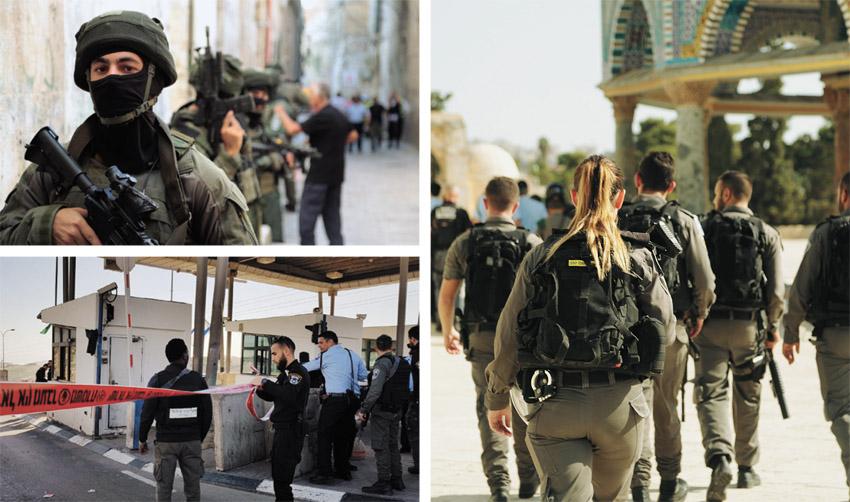 חיילים ושוטרים בהר הבית, מחסום א-זעיים (צילומים: דוברות המשטרה)