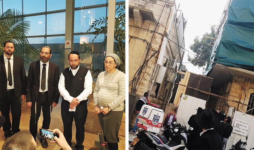 """הכניסה לסמינר שבו נפגעה תהילה בן זינו, יעל ואברהם בן זינו, עו""""ד מנשה יאדו, חיים בלייכר (צילומים: דוברות המשטרה, ארגון חננו)"""