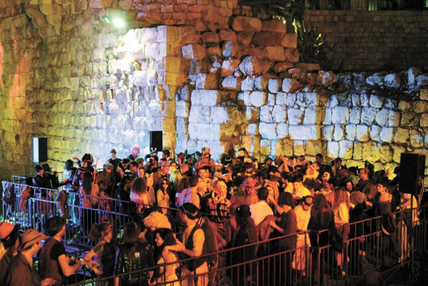 מסיבת פורים במגדל דוד (צילום: ריקי רחמן)