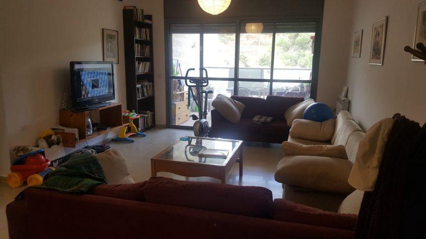 סלון הדירה בדרך כרמית, עין כרם (צילום: אייל שאולוף)