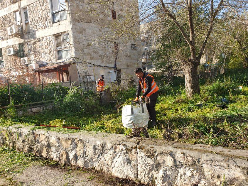 עבודות לניקוי השטחים הפרטיים בתלפיות (צילום: מינהל התפעול בעיריית ירושלים)