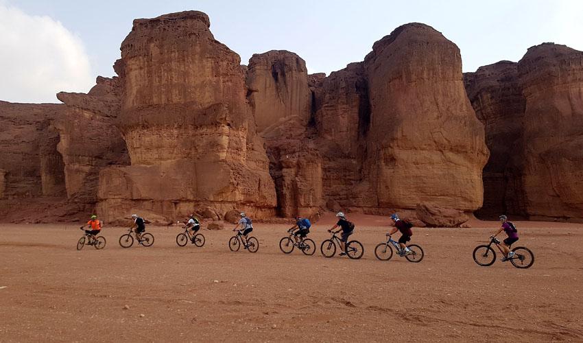 אופניים בעמודי שלמה (צילום: דרך הערבה)