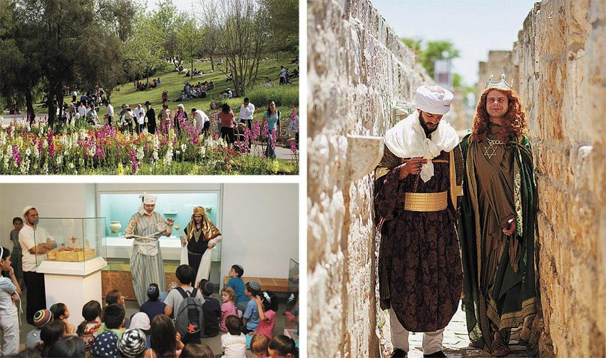 """טרק תיאטרלי בטיילת החומות, מוזיאון ארצות המקרא, הגן הבוטני (צילומים: ג'ודית מרכוס, יח""""צ, יעל הרמן)"""