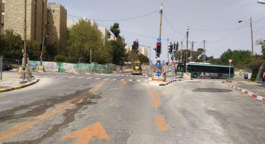 """העבודות בצומת הרחובות לח""""י-חיים יסקי-צ'רצ'יל (צילום: עיריית ירושלים)"""