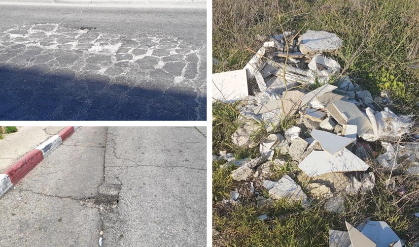 אשפה ברמת אשכול, בורות ברחוב ירמיהו, רחוב התאנה בגילה (צילומים: פרטי)
