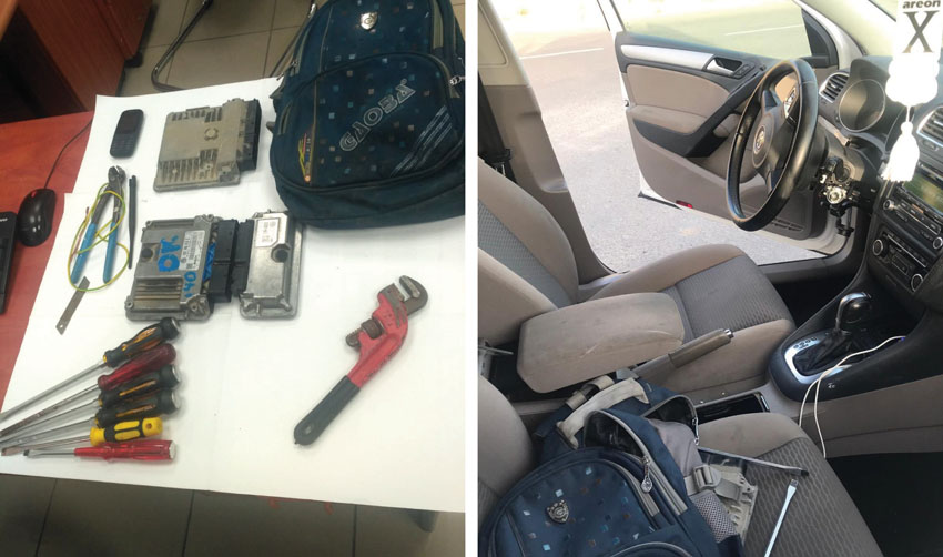 כלי הפריצה ואחד הרכבים שנתפסו עם החשודים (צילום: דוברות המשטרה)