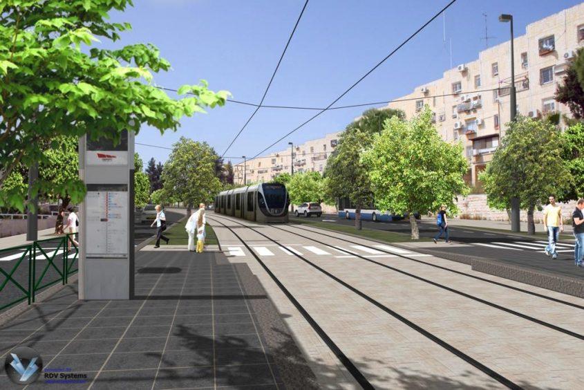 הדמיית קו הרכבת הקלה בגילה (צילום הדמיה: צוות תוכנית אב לתחבורה)