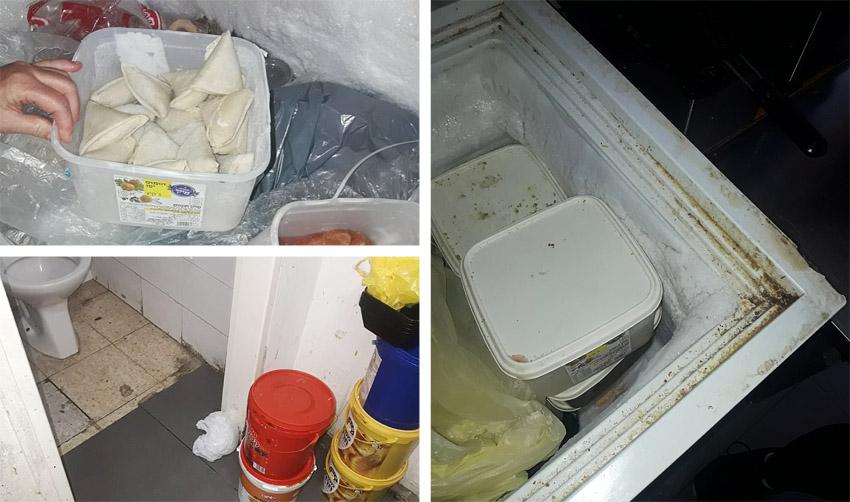 השמדת מוצרי בשר בקר בבית האוכל טעם משובח ברמת שלמה (צילומים: דוברות משרד הבריאות)