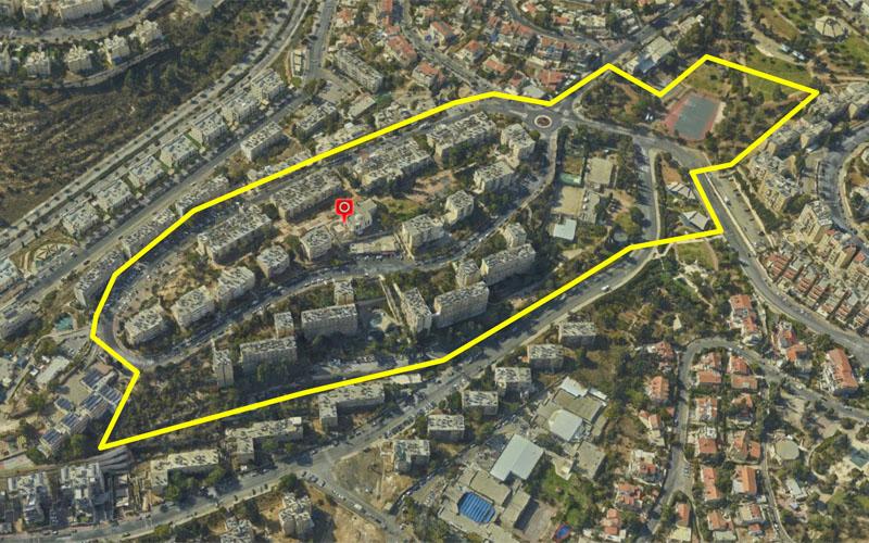 """שטח תוכנית הותמ""""ל לפינוי-בינוי בקרית מנחם (צילום: בבדיקה)"""