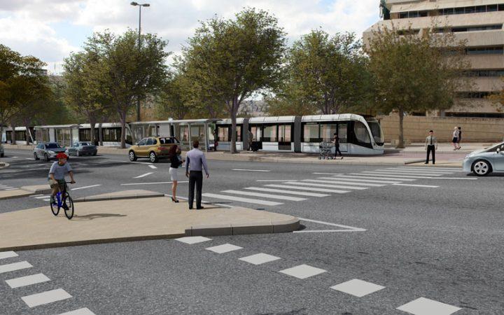 הדמיית הקו הזהוב של הרכבת הקלה (הדמיה: תכנית אב לתחבורה ירושלים)