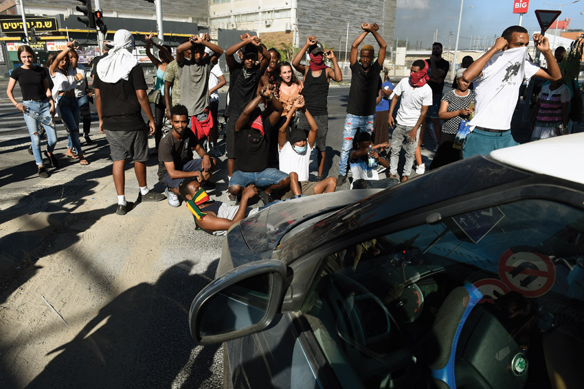 מחאת בני העדה האתיופית (צילום: רמי שלוש)
