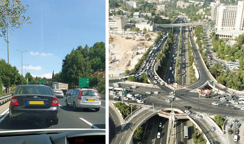 צומת מחלף קרית משה, כביש בגין (צילומים: ליאור יונה, TSR)
