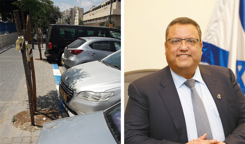 ראש העיר משה ליאון, חניה בכחול לבן בירושלים (צילום: שלומי כהן)