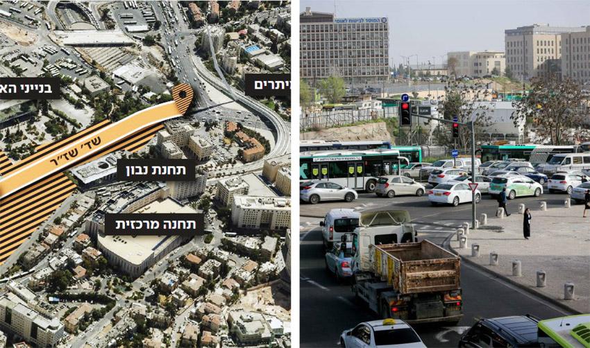 הכניסה לירושלים (צילומים: אורן בן-חקון, הדמיה צוות תוכנית אב לתחבורה ירושלים)
