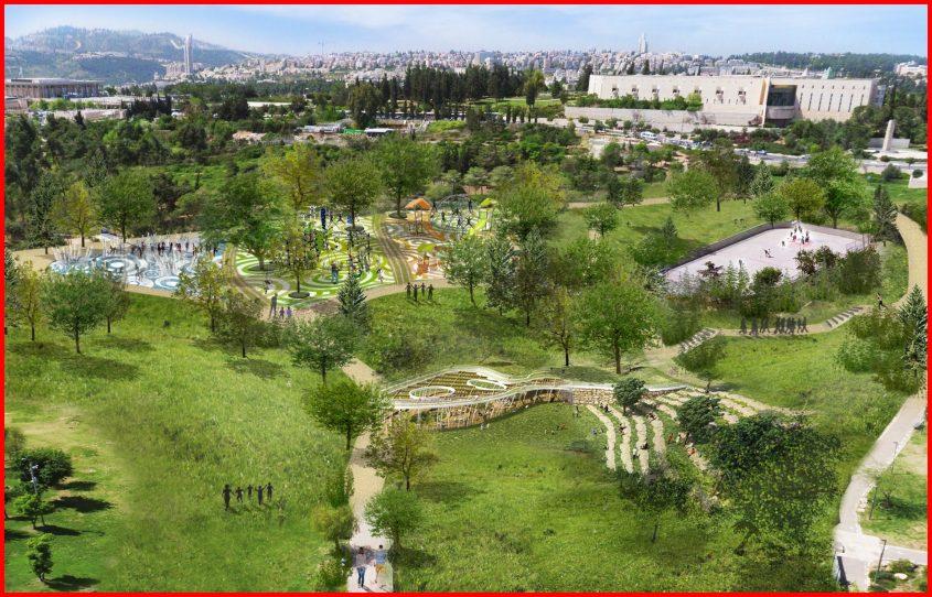 התוכנית לשדרוג גן סאקר (הדמיה: משרד אדריכלים צור וולף)
