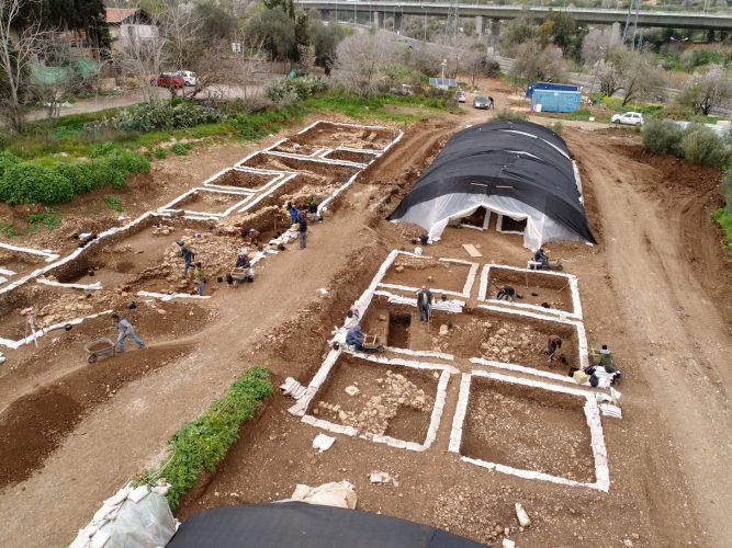 אתר עבודות החפירה (צילום רחפן: איל מרקו, רשות העתיקות)