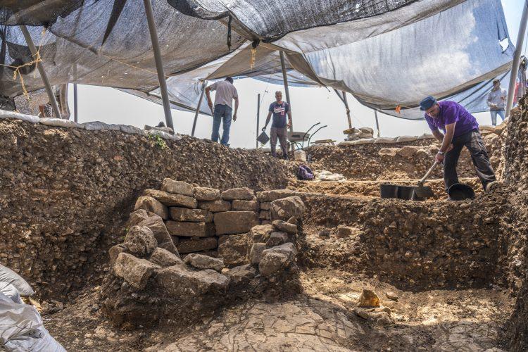 העבודות באתר החפירות (צילום: יניב ברמן, רשות העתיקות)