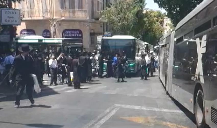 הפגנת החרדים בכיכר השבת (צילום: מחאות החרדים הקיצונים)
