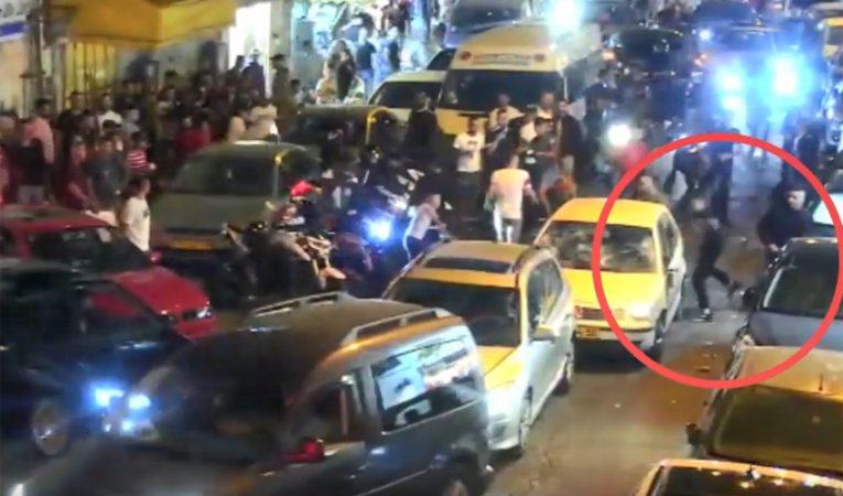 תיעוד תקיפת הנהג היהודי ברחוב צאלח א-דין, (צילום: מתוך סרטון מצלמת האבטחה - באדיבות דוברות משטרת ירושלים)